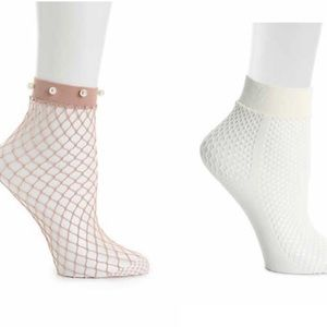 FISHNET PEARL WOMEN'S ANKLE SOCKS 2 PACK
